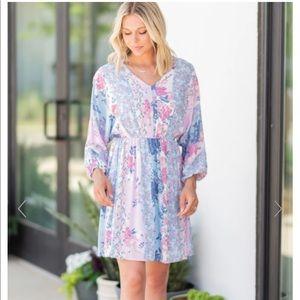 The Mint Julep Lavender Purple Floral Dress